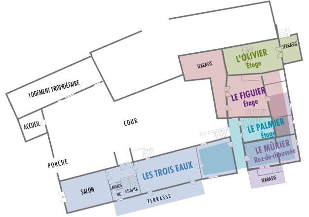 Le plan du Mas Domaine de l'Astic en Ardèche